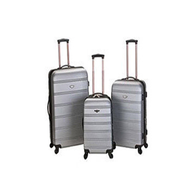 Solid Pattern Silver Lightweight Spinner Wheeled Briefcase Hard-Shell Design
