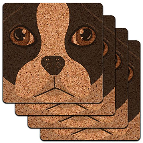 Boston Terrier Coasters - Boston Terrier Face Close up Pet Dog Low Profile Cork Coaster Set