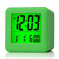 Plumeet Easy Setting Digital Travel Alarm Clock with Snooze,Soft Nightlight,Large Display Time & Month & Date & Alarm