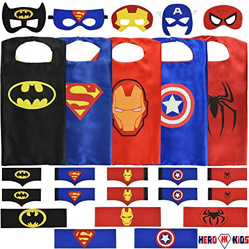 Hero Kids Boys Superhero Costumes Set: (5 Masks, Belts Capes and 5 sets of Bracelets) ()