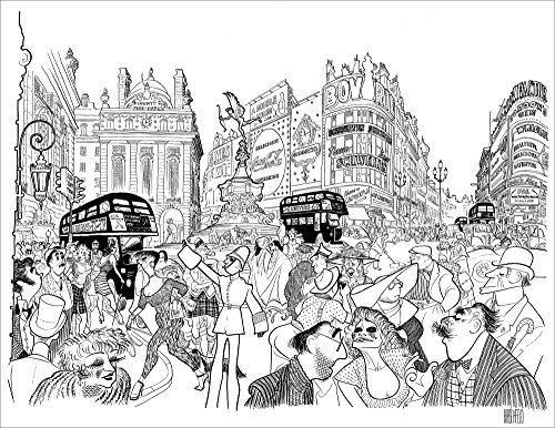 PICCADILLY CIRCUS, HIrschfeld Family Portrait, Hand Signed by AL HIRSCHFELD, Limited Edition Lithograph, Al Hirschfeld, Dolly Haas Hirschfeld, and Nina!