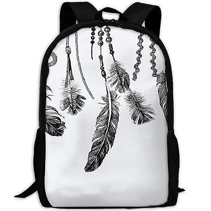 School BAG27 Mochila Escolar Unisex con Diseño de Plumas nativas Americanas