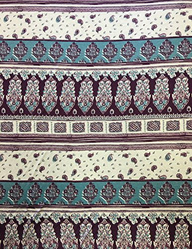 Geometric Paisley Repeated Design Polyester Rayon Spandex 2 Ways Stretch Fabric ()