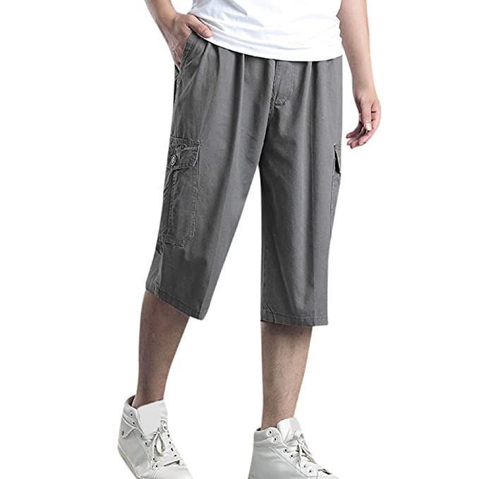 b7eeabcd27 WQS001 Men's Capri Pants,Casual Cargo Shorts Elastic Waist Cotton Loose Fit  Lightweight Outdoor Multi