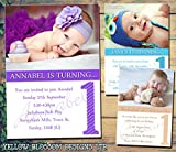 Personalised Childrens Birthday Invitations Printed Invites Boy Girl Joint Party Twins Unisex Photo Card 1st Boys 1st Girls First Baby Kids Purple Blue Modern Classic 5 10 20 30 40 50 60 70 80 90 100