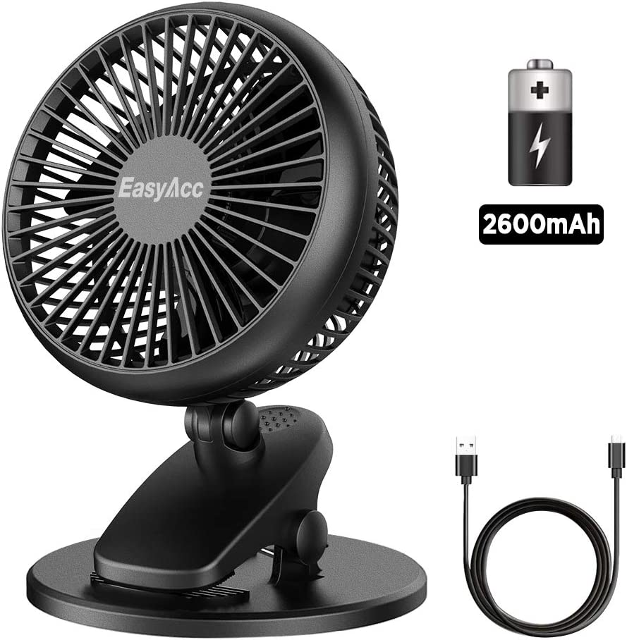 EasyAcc Battery Fan, Clip on Fan Baby Stroller Cooling Fans Strong Wind 4 Speeds 720° Rotation Using 3-15 Hours Portable USB Desk Clip Fan 2600mAh Battery Operated for Strollers Office Dorm Outdoors