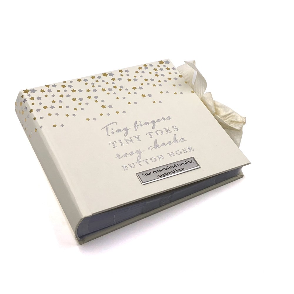 ukgiftstoreonline Personalised Tiny Toes Baby Photo Album 80 Pictures Gold & Silver Stars 740120100975