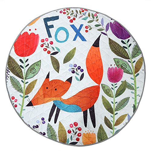 Round Kids' Room Rug, Zicac Toys Storage Organizer Bag Large Cotton Anti-Slip Cartoon Animal Children's Floor Play Game Mat with Drawstring for Kids Room, 51x51 Inch (Fox) by Zicac (Image #1)
