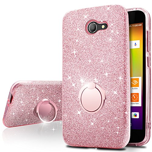 Alcatel A30 Case, Alcatel Kora Case, Alcatel Zip LTE Case,Silverback Girls Bling Glitter Sparkle Case with Ring Stand, Soft TPU Outer Cover + Hard PC Inner Shell for Alcatel A30 -Rose Gold