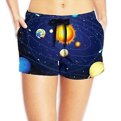 Usieis Solar System Surfing Pocket Elastic Waist Women's Beach Pants Shorts Beach Shorts Swim Trunks