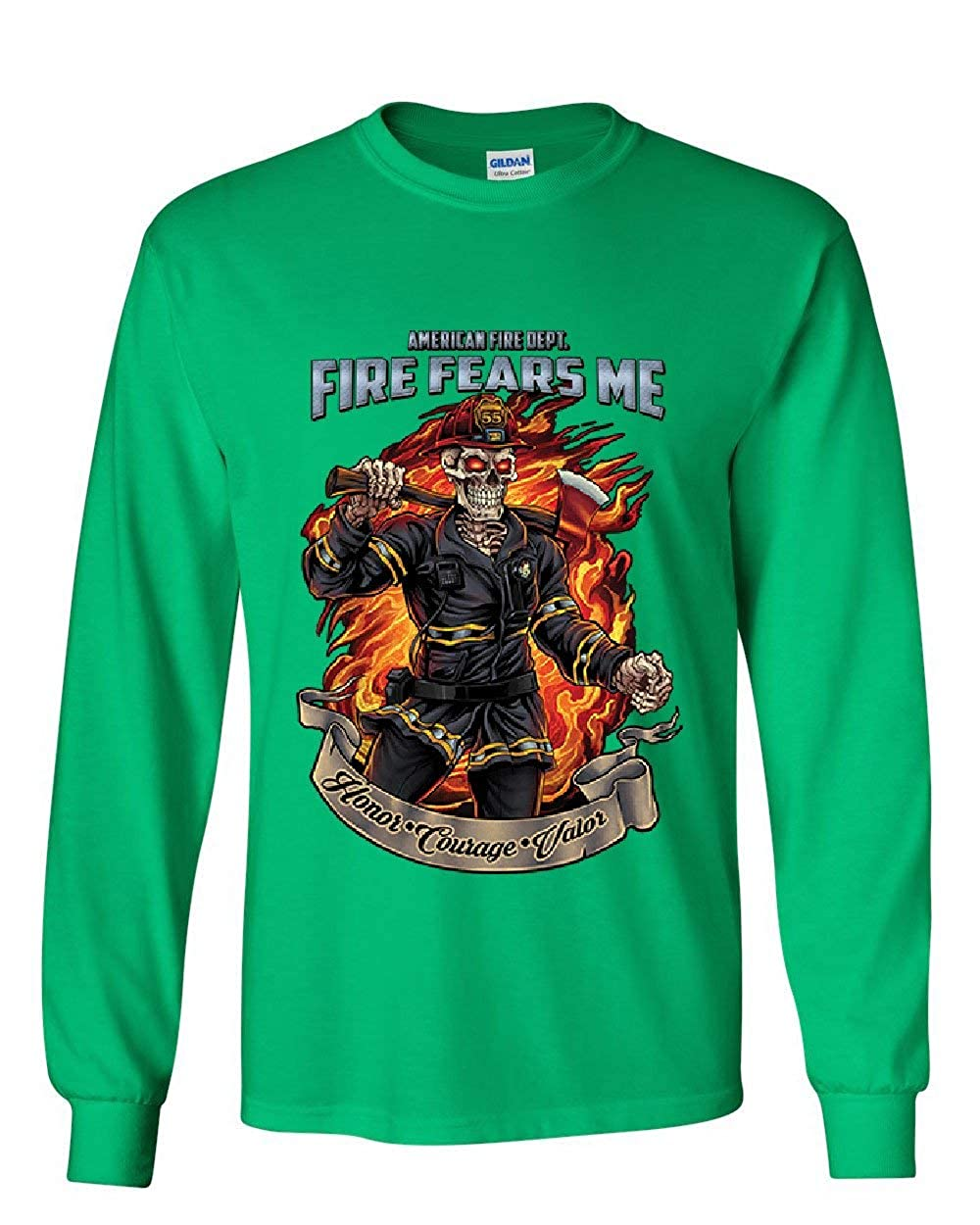 Honor Courage Valor Tee Fire Fears Me Long Sleeve T-Shirt Firefighter Fire Dept