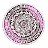 Round Beach Blanket with Tassels Indian Mandala Microfiber Large Tapestry Soft Water Absorbent Multi-Purpose Tablecloth Towel, Yoga Mat, Cushion Cover, Tote Bag, Pillow Sham 60 Inch (#C)