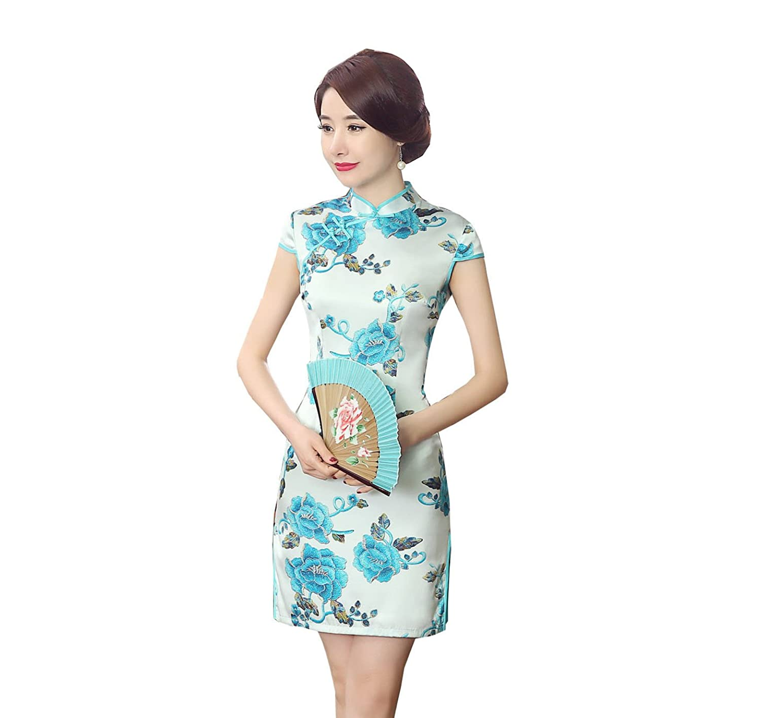yue lian frauen seide sommerkleid bankett chinesische qipao kost m mit blau blumen wei g nstig. Black Bedroom Furniture Sets. Home Design Ideas