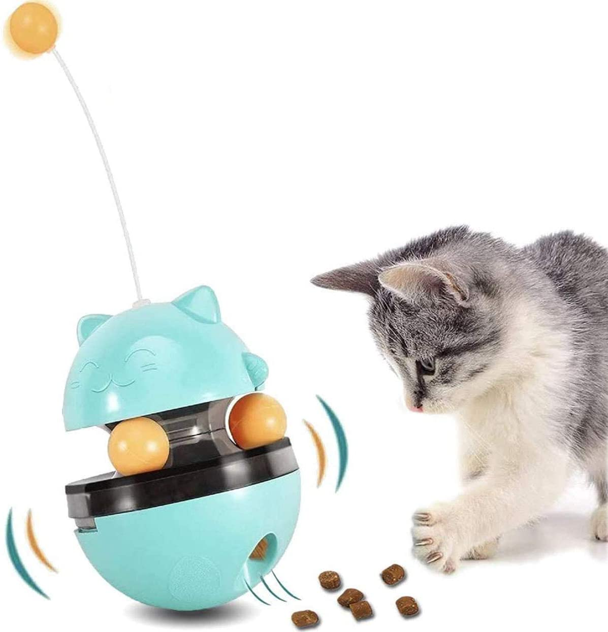 Dbzz Interactive Cat Toys Tumbler Leaking Food Ball Toys for Cat Exercise Game