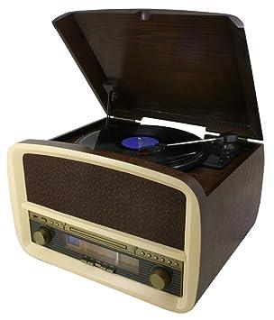 Soundmaster NR518 Marrón tocadisco - Tocadiscos (100 W, Corriente alterna, Beige, Marrón, 420 mm, 335 mm, 270 mm)