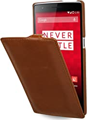 StilGut® UltraSlim Case, custodia in vera pelle per OnePlus One, cognac