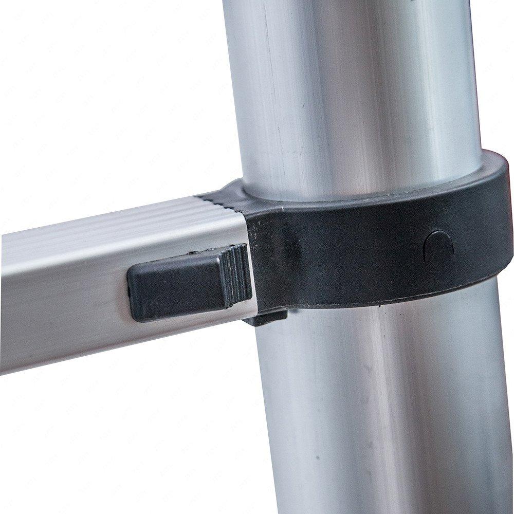 150/kg Belastbarkeit Superworth Teleskopleiter aus Aluminium 3,2/m//3,8/m//5/m Innenbereiche silber B/üro Au/ßenbereiche ausziehbare Leiter f/ür zu Hause