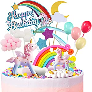 MOVINPE Unicorn Cake Topper, 2 Magic Unicorns Sculpture, 1 Rainbow, 1 Happy Birthday Banner, 2 Cloud, 4 Balloon, 12 Stars, 1 Moon, Cake Decoration For Girl Kid Women Birthday Party