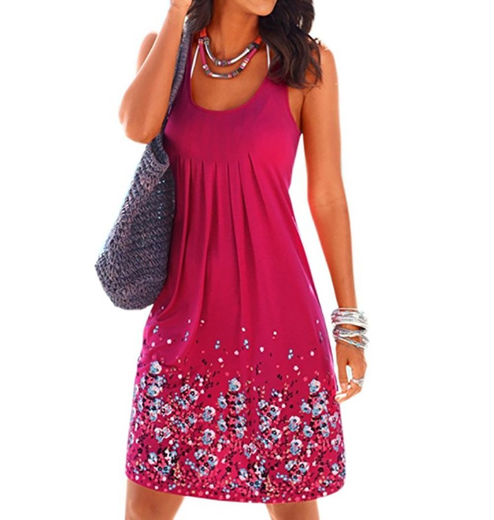Hello Today Women's Top Sleeveless Summer Casual Bathing Dress Size XL D01-ROSE