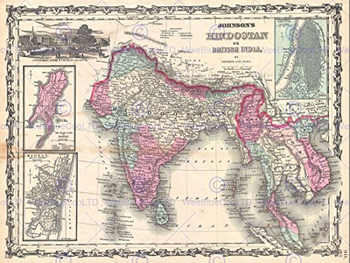 1862 JOHNSON MAP INDIA AND SOUTHEAST ASIA VINTAGE POSTER ART PRINT 12x16 inch 30x40cm 2935PY by Bumblebeaver
