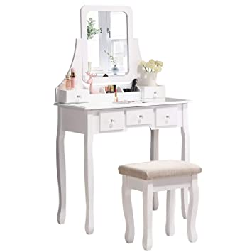 Amazon Com Honbay Makeup Vanity Table Set With Mirror Cushioned