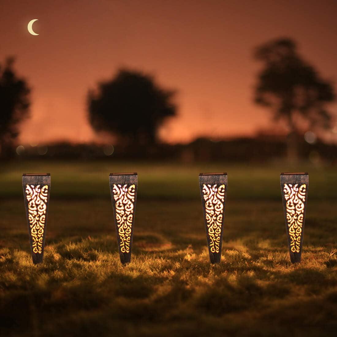 6Pcs Solar Lights Outdoor Decorative Pathway Garden Stakes Waterproof LED Pathway Lighting for Patio, Walkway, Lawn Decorations (Bronze)