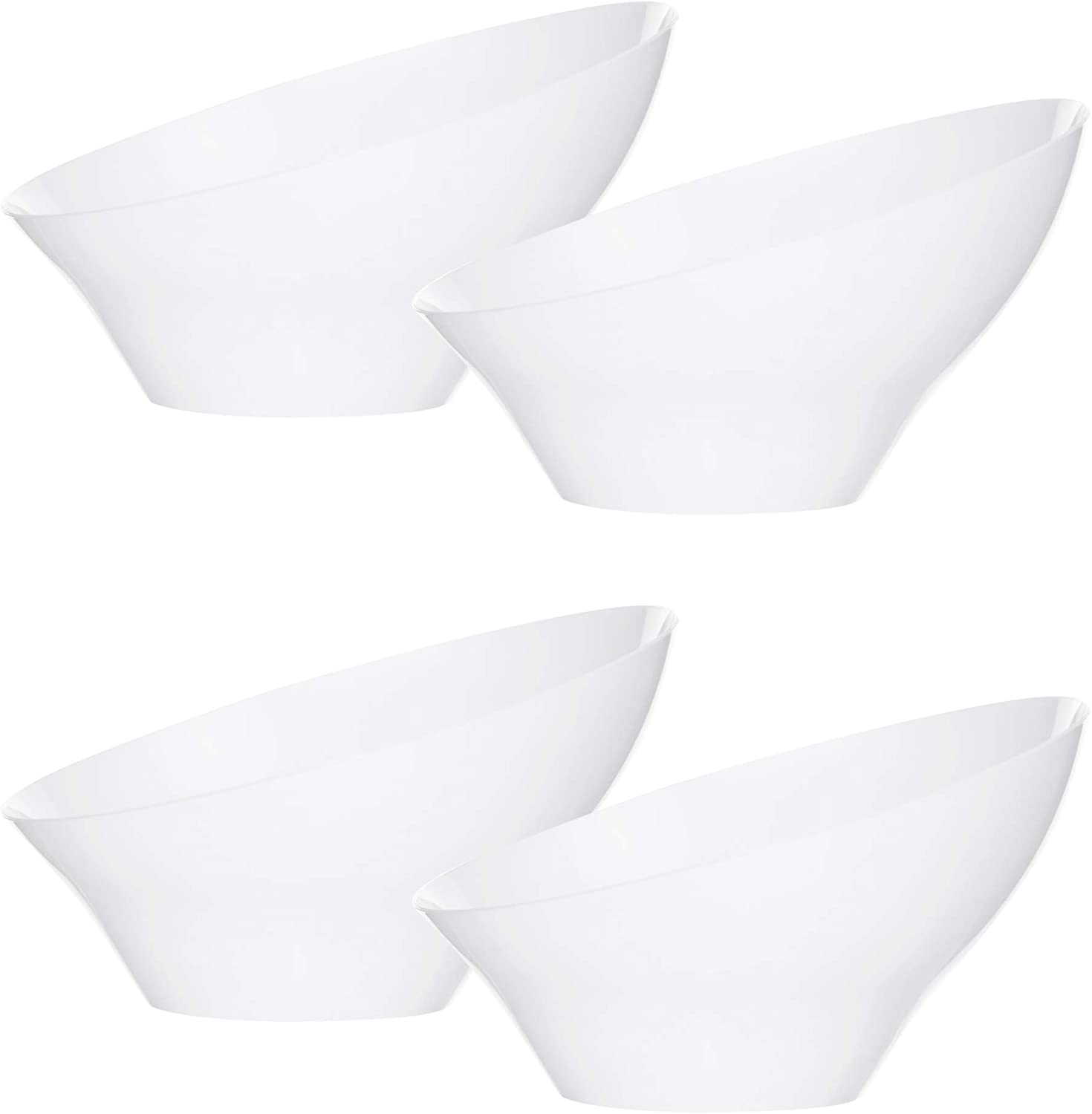 Plasticpro Disposable Angled Plastic Bowls Round Small Serving Bowl, Elegant for Party's, Snack, or Salad Bowl, White, Pack of 8