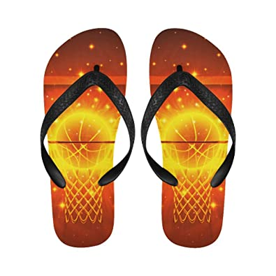 2a036b2acaf5f2 Image Unavailable. Image not available for. Color  INTERESTPRINT Flip Flop  Slippers Basketball Hoop Orange ...