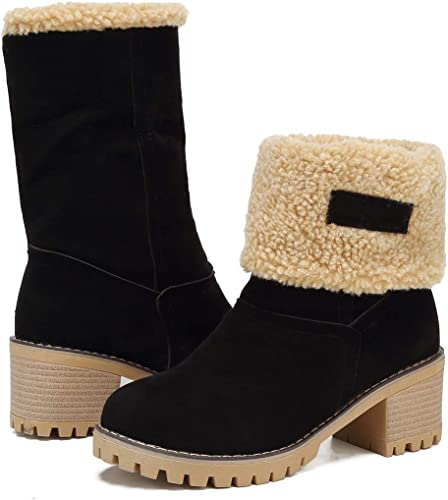 DOTACOKO Women Cute Warm Short Boots Suede Chunky Mid Heel Round Toe ​