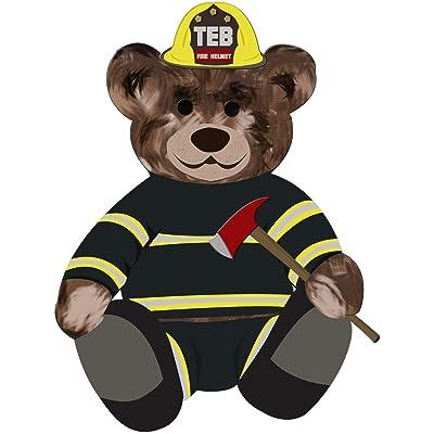 "VWAQ Firefighter Teddy Bear Wall Decal - Fireman Bedroom Sticker Kids Decor - TEB4 (24"" H X 18"" W): Home & Kitchen"