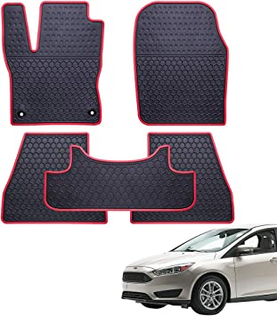 Ucaskin Car Floor Mats Custom Fit for Ford Escape 2013 2014 2015 2016 2017 2018 2019 Odorless Washable Rubber Foot Carpet Heavy Duty Anti-Slip All Weather Protection Car Floor Liner-Black
