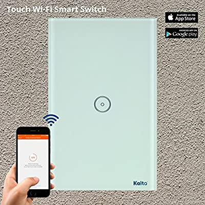 Alexa Smart Wi-Fi Wall Switch,Touch Screen Switch Glass Panel Remote Control Lights and Appliances Timer with smartphone, Works with Amazon Alexa (Android 4.1 / iOS 8.0 Above) (1 Gang) Kaito KA401