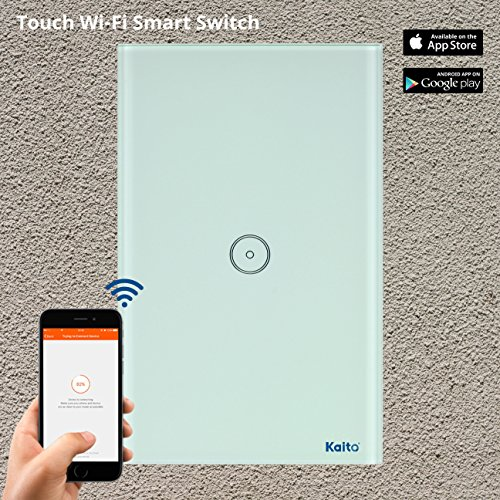 Alexa Smart Wi-Fi Wall Switch,Touch Screen Switch Glass Panel Remote Control Lights and Appliances Timer with smartphone, Compatible with Alexa (Android 4.1 / iOS 8.0 Above) (1 Gang) Kaito ()