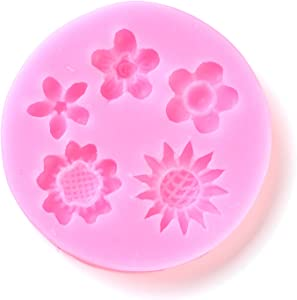 10pcs Flower Resin Casting Molds Silicone Food Grade 5 Shapes Floral Resin Fondant Soap Moulds 64.5x8.5mm for DIY Cake Chocolate Candy Soap Decoration UV Epoxy Resin Jewelry Making