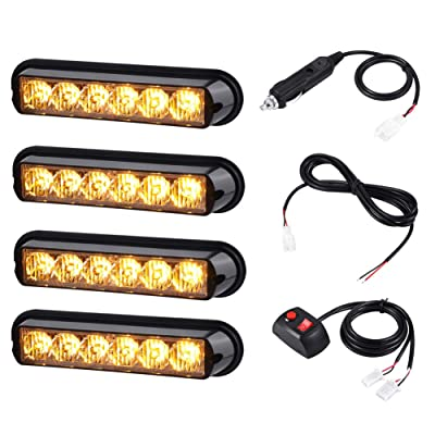 AT-HAIHAN 4 in 1 Amber Surface Mount Grill Light Head, 6W Bright LED Mini Strobe Lightbar for POV, Utility Vehicle, Construction Vehicle and Tow Truck Van: Automotive