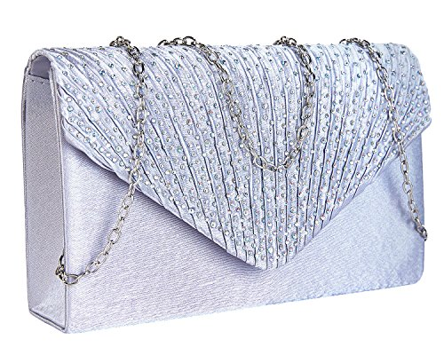 Charming and Purse Handbag Flap Envelope Bag Evening Silver Diamante Tailor Pleated Clutch H0qnrFTSH