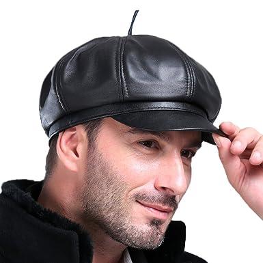 ed3aeab9953 Vemolla Men s (Unisex) Real Leather Newsboy Hat Mes Beret Cap Octanonal Cap  Black L