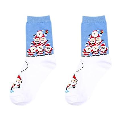 Calcetines de para hombre de Navidad, calcetines de algodón estampado con copo de nieve de