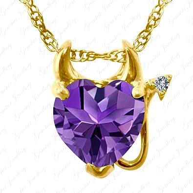 f262cb491a68 Gemstar joyas en forma de corazón morado Amatista 14 K oro amarillo Acabado  Diablo Colgante de San Valentín  Amazon.es  Joyería