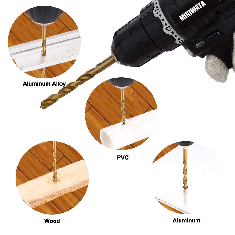 TOUHIA 2-12mm High-speed Steel Titanium Plated Drill Bits HSS Woodworking Wood Metal Drilling Tool 13Pcs