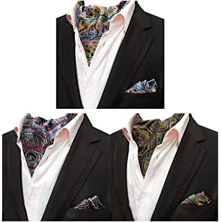 395b5933cc86 MOHSLEE Mens Luxury Paisley 3 Pack Cravat Silk Ascot Scarf Tie Pocket  Square Set