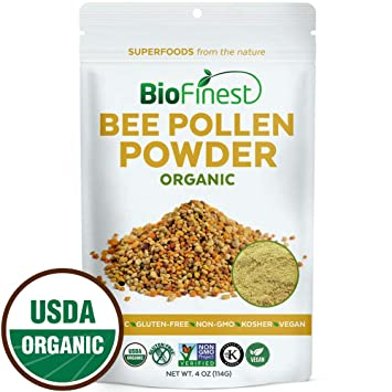 Biofinest 100% Pure Bee Pollen Powder - USDA Organic Vegan Raw Non-GMO -