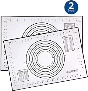 2PCS Silicone Pastry Mat Non Slip with Measurement Fondant Mat, Counter Mat, Dough Rolling Mat, Oven Liner, Pie Crust Mat-Black (16''(W)24''(L))