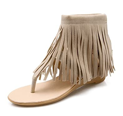 eef9f340fd81b Aisun Women s Stylish Boho Fringed Split Toe Back Zipper Wedge Kitten Heels  Flip Flops Thong Sandals