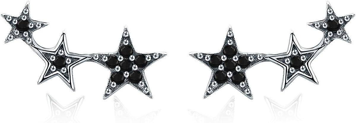 Pendientes de plata de ley Qings 925, Pendientes estilo Estrella Negra con circonita Diamante simulado Joyas de moda Regalos para damas mujeres Chicas