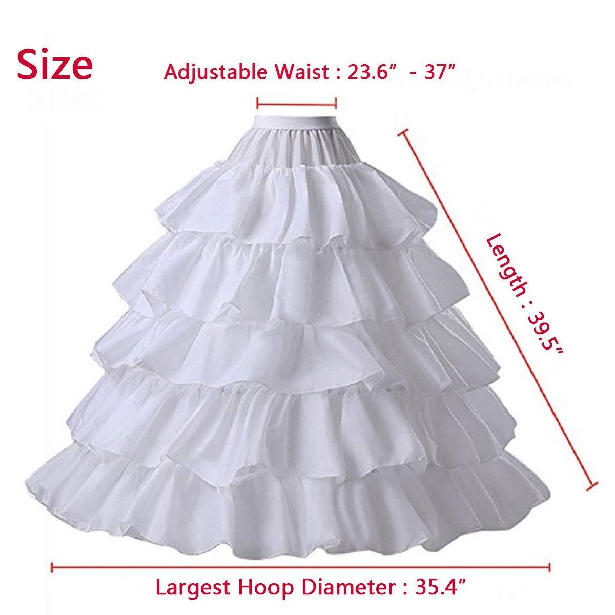 49d97d55465a BEAUTBRIDE Women 4-Hoop Wedding Petticoat Skirt Quinceanera Ball Gown Slip  White at Amazon Women's Clothing store: