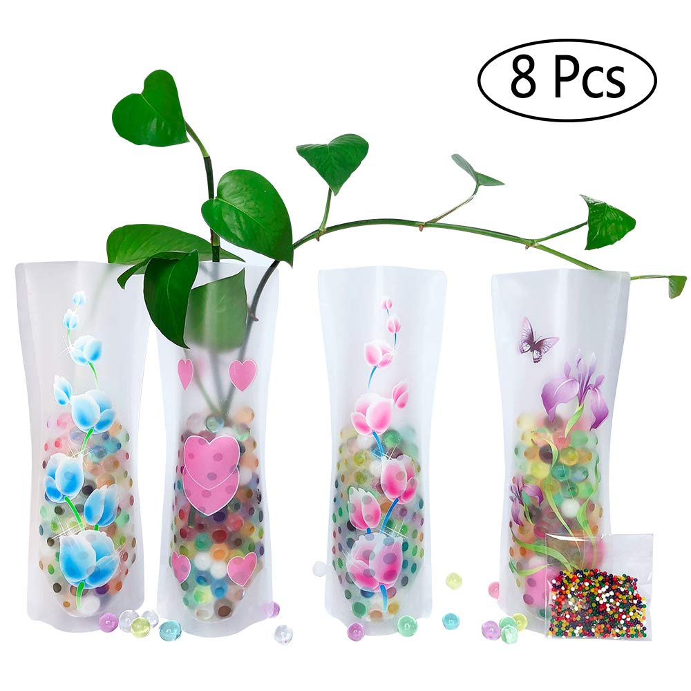 About 800PCS Reusable - for Travel, Vacations, Camping, Weddings, Table Decor HGFF Collapsible /& Expandable Plastic Vase 8 PCS and Water Beads