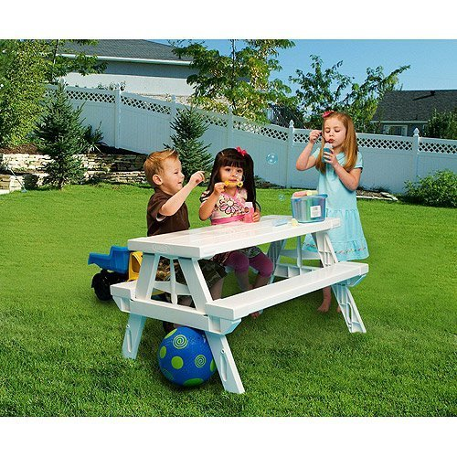 (White foldable Children's Picnic Table 600 lbs plastic compact durable)