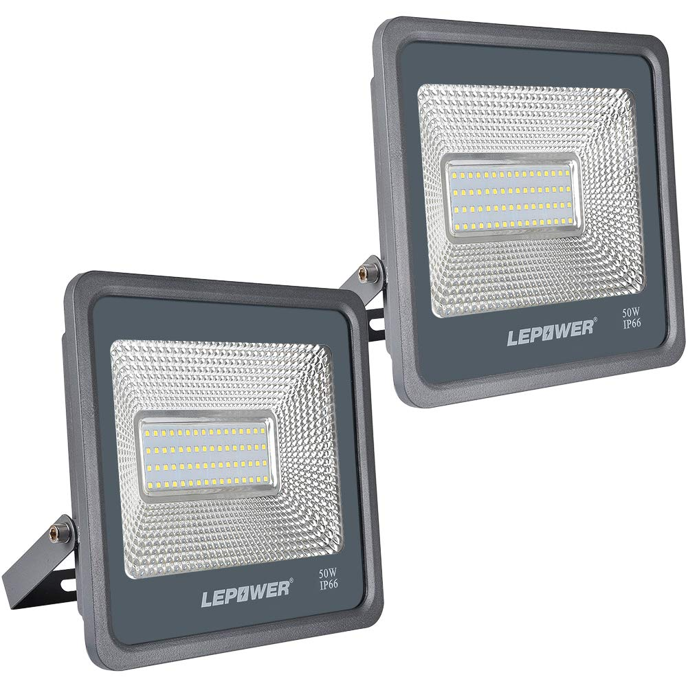 LEPOWER 2 Pack 50W LED Flood Light, 5000lm Super Bright Work Light with Plug, 6000K White Light, IP66 Waterproof Outdoor Landscape Floodlight for Garage, Garden, Lawn, Basketball Court, Playground
