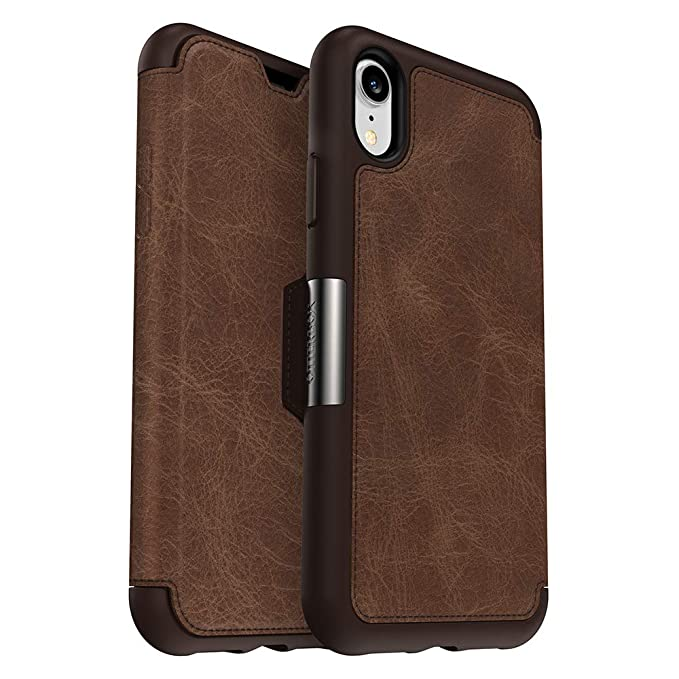 save off 47d7e ec5d4 OtterBox Strada Series Case for iPhone XR - Retail Packaging - Espresso  (Dark Brown/Worn Brown Leather)